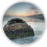 Wreck Of Laura - Filey Bay - North Yorkshire Round Beach Towel