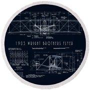 Wright Bros Flyer Aeroplane Blueprint  1903 Round Beach Towel