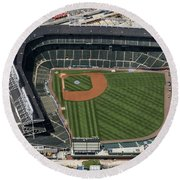 Wrigley Field In Chicago Aerial Photo Round Beach Towel