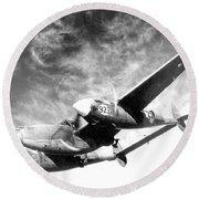 Wwii, Lockheed P-38 Lightning, 1940s Round Beach Towel