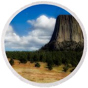 Wyoming's Devil's Tower Round Beach Towel