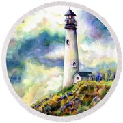 yaquina Head Lighthouse Round Beach Towel