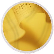 Yellow Ekg Round Beach Towel