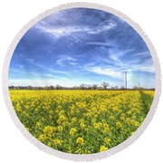 Yellow Fields Of Summer Round Beach Towel