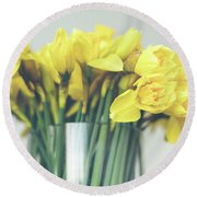 Yellow Narcissuses Bouquet In A Glass Vase Round Beach Towel