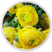 Yellow Ranunculus Round Beach Towel