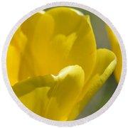 Yellow Tulips Round Beach Towel