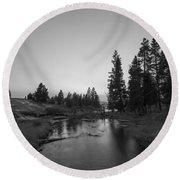 Yellowstone National Park Sunset And Moon Round Beach Towel