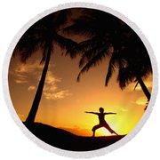 Yoga At Sunset Round Beach Towel