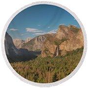 Yosemite Valley View Round Beach Towel