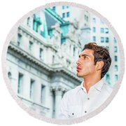 Young American Businessman Looking For Success. Round Beach Towel