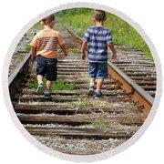 Young Boys On Railway Tracks Round Beach Towel