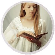 Young Girl Reading A Book Round Beach Towel