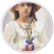 Young Girl With Lavender Round Beach Towel