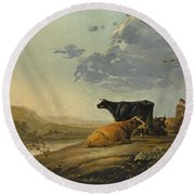 Young Herdsmen With Cows Round Beach Towel