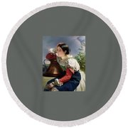 Young Italian At The Well Franz Xavier Winterhalter Round Beach Towel