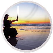 Young Samurai Women With Japanese Katana Sword At Sunset On The Beach Round Beach Towel