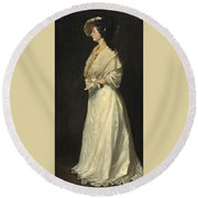 Young Woman In White Round Beach Towel
