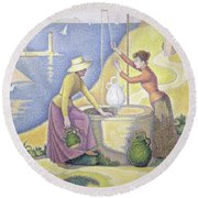 Young Women Of Provence At The Well, 1892 Round Beach Towel