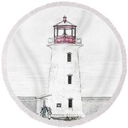 You're My Beacon Peggy's Cove Lighthouse Round Beach Towel