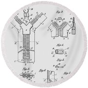 Zipper Patent Art  Round Beach Towel