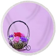 A Gift Of Preservrd Flower And Clay Flower Arrangement, Colorful Round Beach Towel