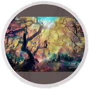 10 Abstract Japanese Maple Tree Round Beach Towel
