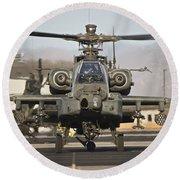 Ah-64d Apache Longbow Taxiing Round Beach Towel