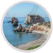 Aphrodite's Rock - Cyprus Round Beach Towel