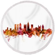 Atlanta Georgia Skyline Round Beach Towel