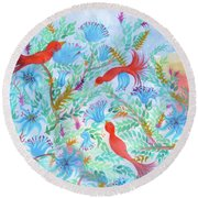Birds Symphony Round Beach Towel