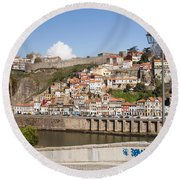 City Of Porto In Portugal Round Beach Towel