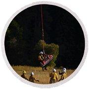 Climber Rescue Operation In Yosemite Round Beach Towel