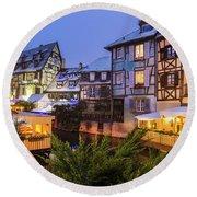 Colmar,petite Venice, Alsace, France, Round Beach Towel