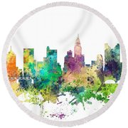 Columbus Ohio Skyline Round Beach Towel