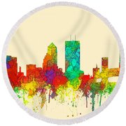 Jacksonville Florida Skyline Round Beach Towel