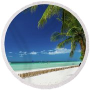 Main Beach Of Tropical Paradise Boracay Island Philippines Round Beach Towel