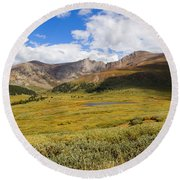 Mount Bierstadt In The Arapahoe National Forest Round Beach Towel