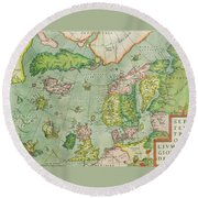 Old Map Round Beach Towel