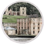 Port Arthur Building In Tasmania, Australia. Round Beach Towel