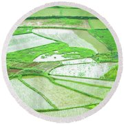 Rice Fields Scenery Round Beach Towel