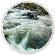 River Water Flowing Through Rocks At Dawn Round Beach Towel