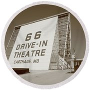Route 66 - Drive-in Theatre Round Beach Towel by Frank Romeo