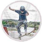 skate park day, Skateboarder Boy In Skate Park, Scooter Boy, In, Skate Park Round Beach Towel