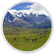 Springtime In Torres Del Paine Round Beach Towel