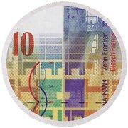 10 Swiss Franc Bill Round Beach Towel