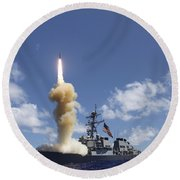 The Guided-missile Destroyer Uss Round Beach Towel