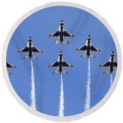 Us Air Force Thunderbirds Flying Preforming Precision Aerial Maneuvers Round Beach Towel