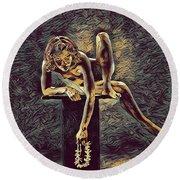 1003s-zac Necklace Of Bones Held By Beautiful Nude Dancer Round Beach Towel
