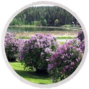 103 Mile Lake Lilacs Round Beach Towel